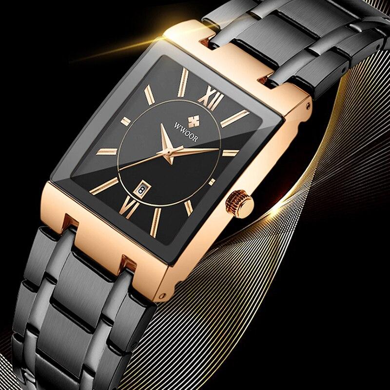 Часы наручные WWOOR мужские с квадратным циферблатом, модные брендовые Роскошные деловые кварцевые, цвета розового золота, 2020