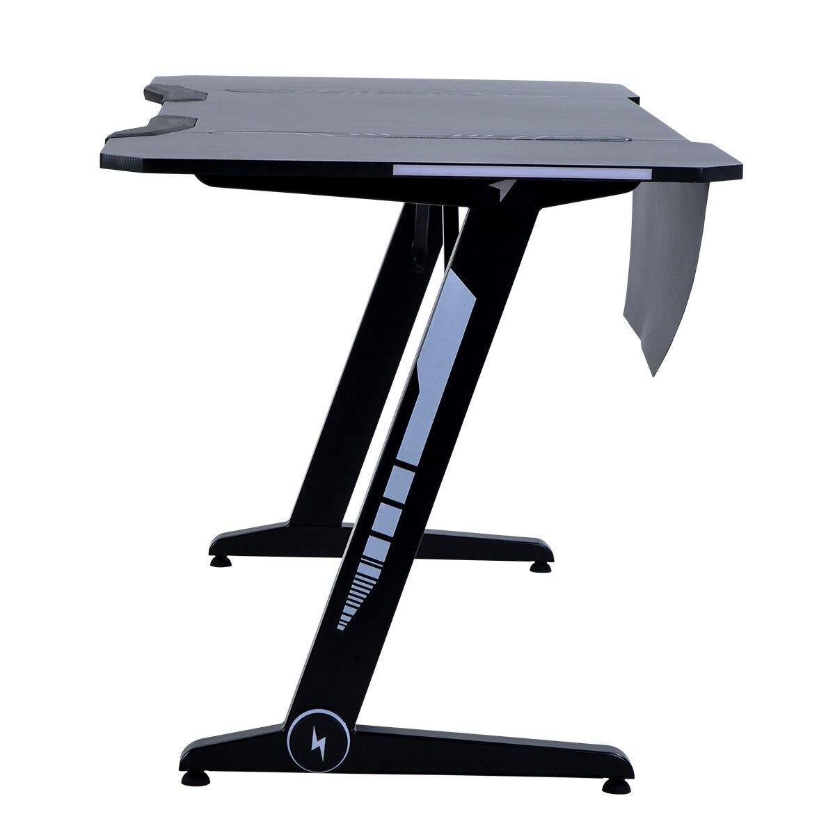 Criativo nova cor preta casa escritório gaming desk com com rgb luzes led design gancho fone de ouvido e almofadas ajustáveis