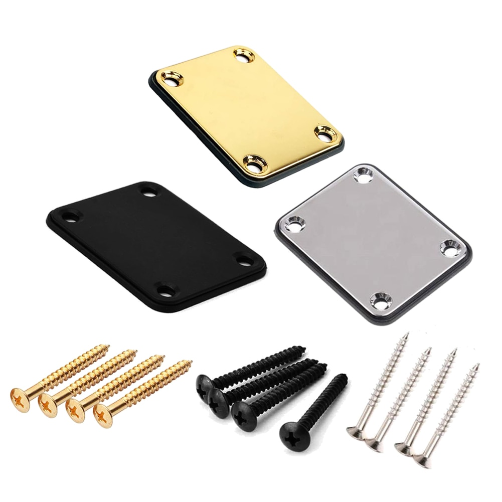 Guitar Neck Plate ST Electric Guitar Neck Plate Joint Back Mounting Plate With Screws Parts For Guitar Bass 3 Color Neck Plate ootdty guitar tremolo locking nut 3 clamp 3 screws for electric neck