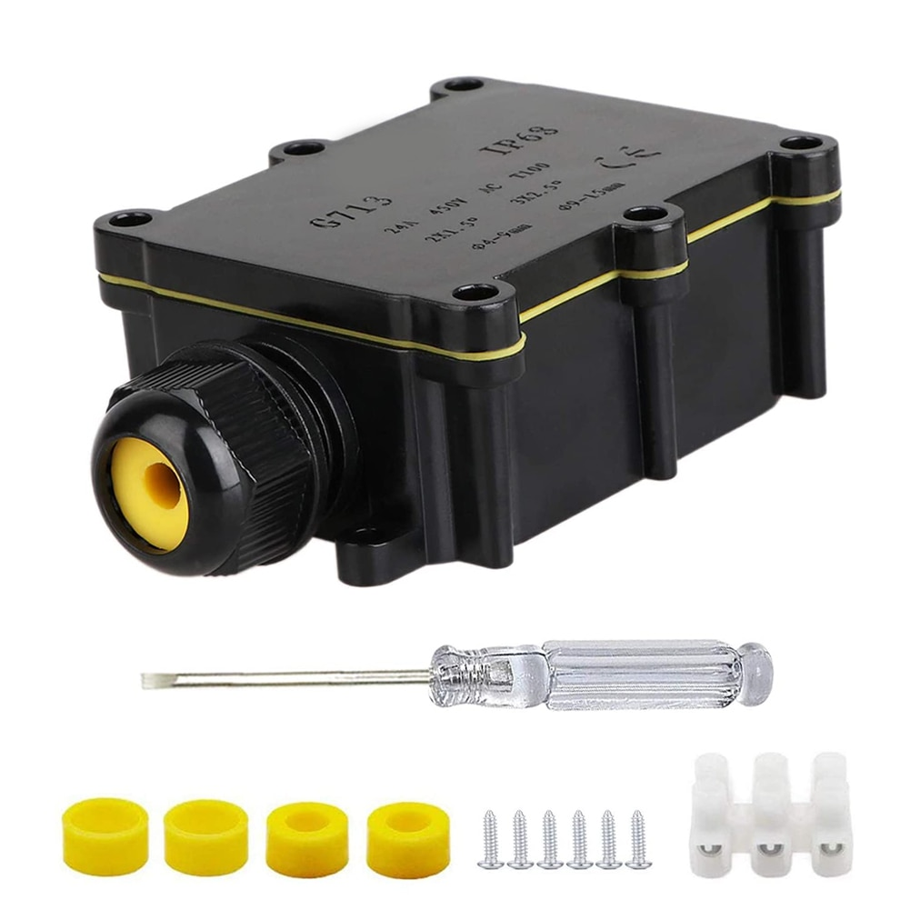 IP68 Outdoor Waterproof Cable Connector Terminal Junction Box External 2 Way Plug Line Case Protect