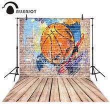 Allenjoy граффити стены фотографии фон Баскетбол Винтаж кирпичный деревянный пол фото студия фон Фотофон фотосессия