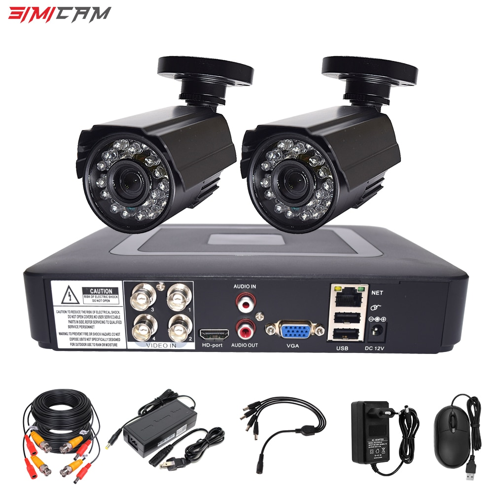 video monitoring camera system room set surveillance video recorder 5in1 dvr 2mp 1080p hd security camera video surveillance kit simicam Video cctv Surveillance camera security system kit 2pcs AHD 2MP 1080P 4ch 5 in 1 video recorder dvr night vision P2P set