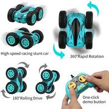 3.7 inch RC Car 2.4G 4CH Double-sided bounce Drift Stunt Car Rock Crawler Roll Car 360 Degree Flip R