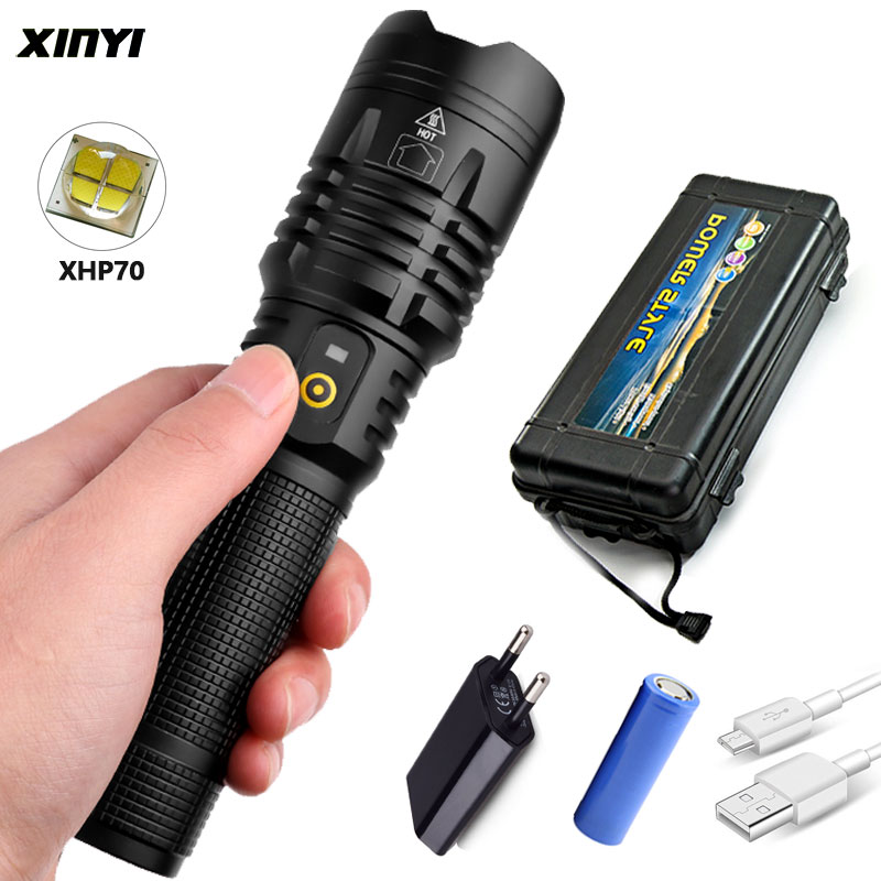 Linterna Led potente de 90000LM xhp70/50 con carga USB, linterna led con Zoom lanter 1*26650/18650 batería para lámpara de Camping