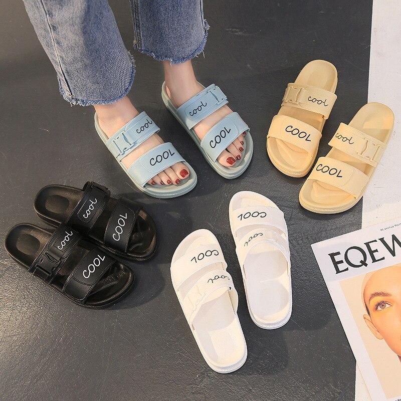 Sandals Women 2021 Summer Casual Slippers Rome Flat Platform Open Toe Buckle Beach Shoes Non-slip Slides Footwear