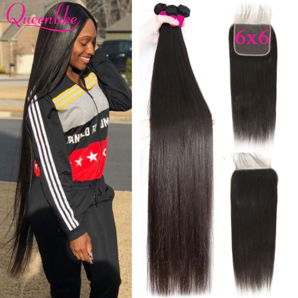 Queenlike 6*6 Lace Closure And Human Hair Bundles With 6x6 Closure Brazilian Hair Weave Bundles Stra
