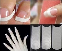 2 packs 96 pcs white french manicure strip nail art form fringe guides sticker diy line tips