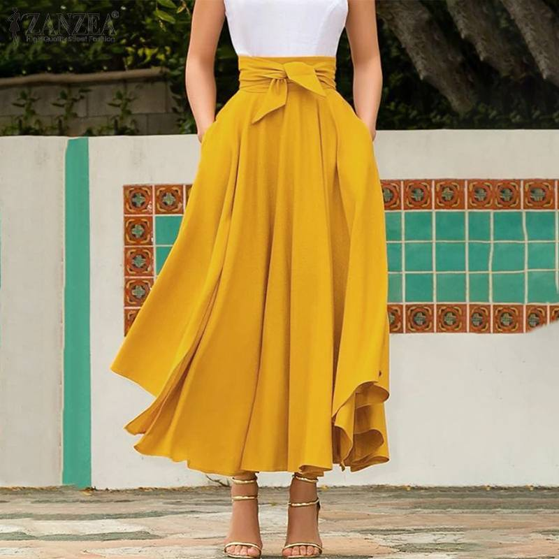 Zanzea saias de verão feminino elegante sólido a-line saias boêmio praia saia jupe feminino gravata borboleta maxi saia longa faldas saia 5xl