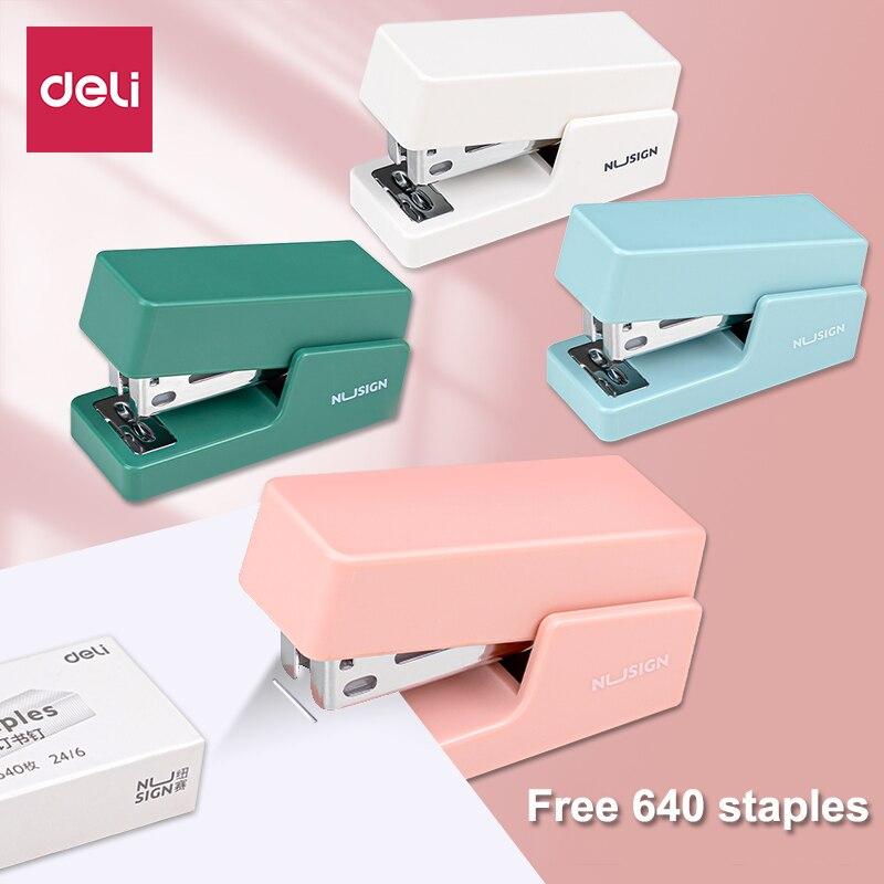 Deli современный мини степлер с 640 скобами легкая Бумажная книга Связывание степлер оборудование для офиса