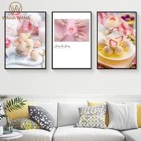 Toile de peinture moderne  romantique fleur Dessert  affiche imprimee  decoration de maison  peinture murale