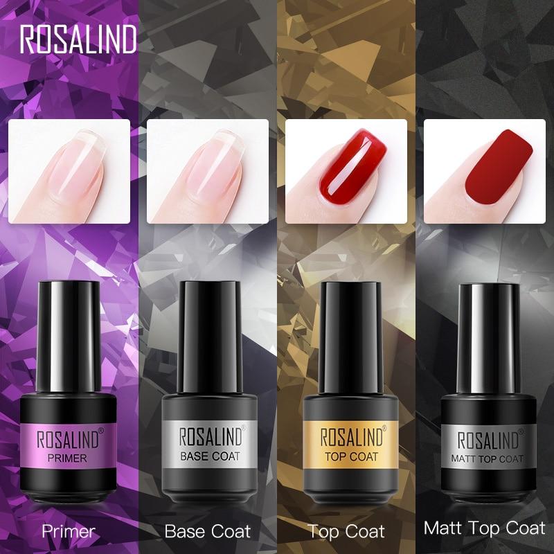 ROSALIND Primer Top Base Coat 7ML Gel Nail Polish For Manicure Long Lasting Nail Art Salon Gel Varni