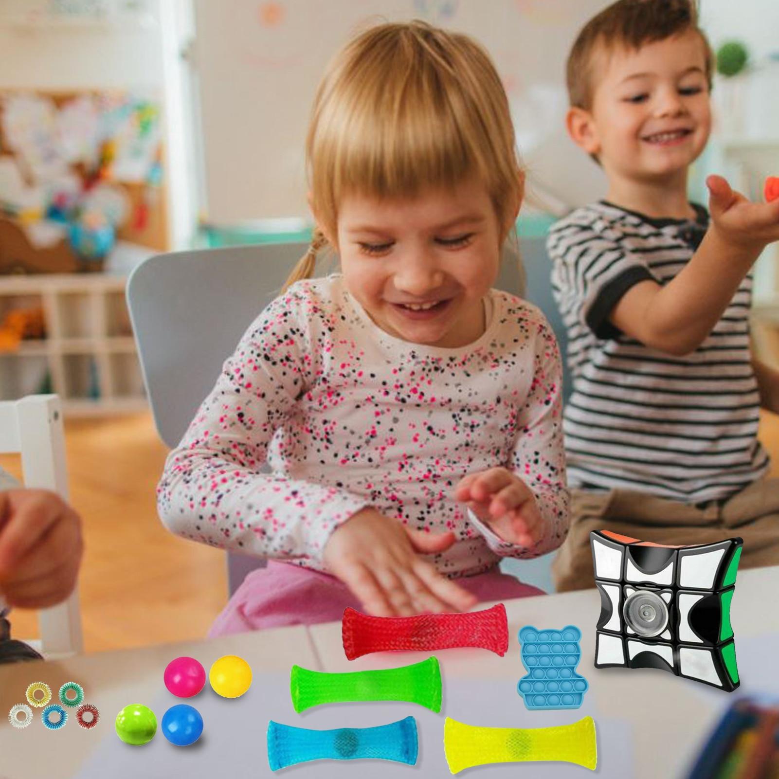18Pcs/Set Stress Relief Push Pop Bubble Sensory Toys Antistress Fidget Toys Decompression Fidget Toys for Kids Adult Party Gift enlarge
