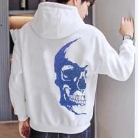 autumn mens hoodie brand design rhinestone hoody pure cotton thick winter pullover hip hop street skull long sleeve h138