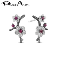 black angel luxury ruby plum blossom hua mulan stud earrings jewelry 925 silver earring 2020 new for women wholesale
