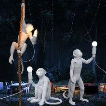 Moderne Affe Lampe LED Anhänger Lichter Beleuchtung Wohnzimmer Kunst Nordic Repliken Harz Hängen Lampe Affe Lampe Innen Lampen