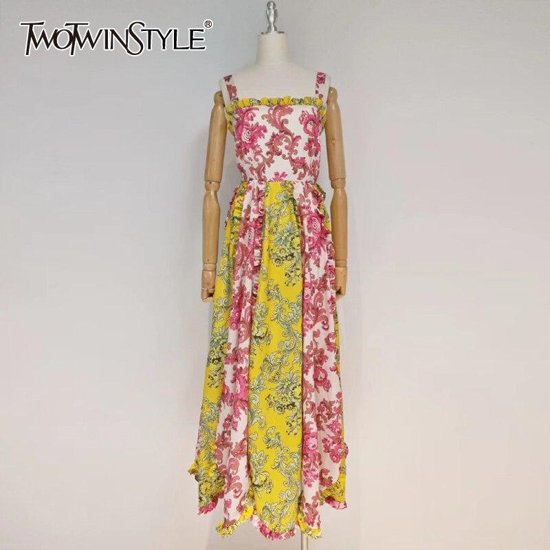 TWOTWINSTYLE خمر طباعة فستان بكتافة للنساء ساحة طوق أكمام عالية الخصر ضرب اللون ماكسي فساتين الإناث 2021 الملابس