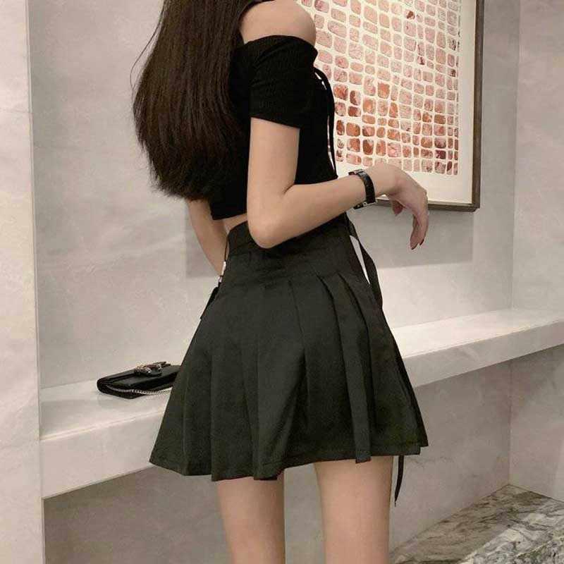 Nicemix Minifalda Plisada Gótica Para Mujer Ropa De Calle De Moda Coreana Hip Hop Cargo Punk Sexy Cinturón De Cintura Alta 2020 Faldas Aliexpress