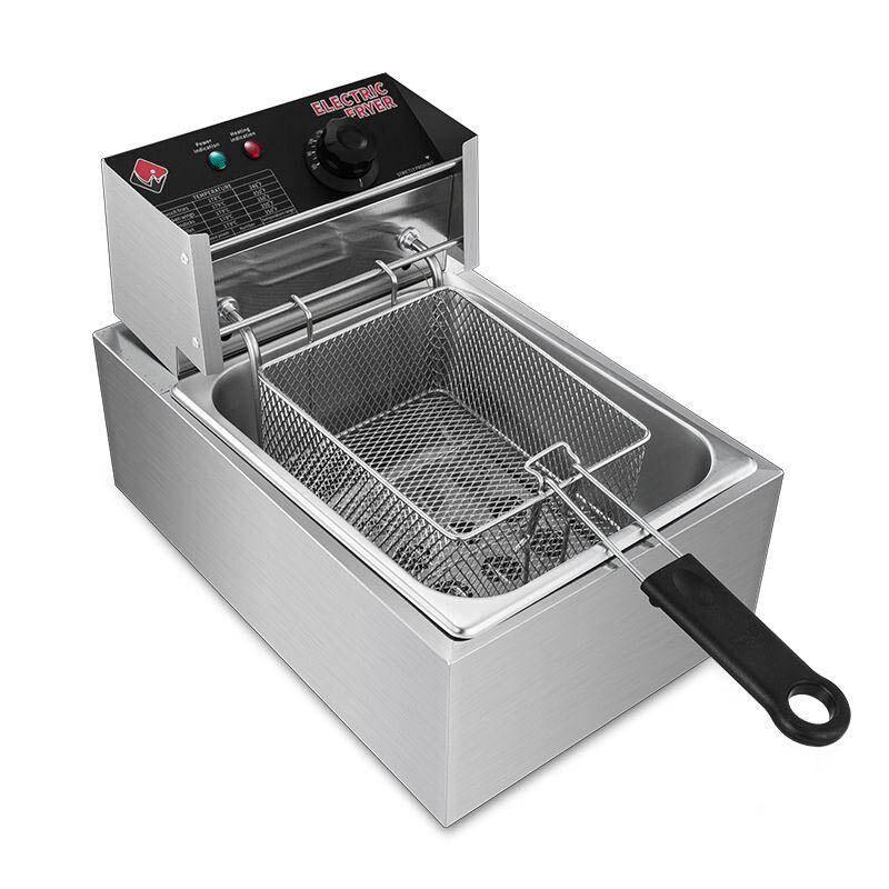 مقلاة كهربائية تجارية 220 فولت 2500 واط 6L التحكم في درجة الحرارة المقلية أجنحة دجاج المقلية العجين العصي آلة