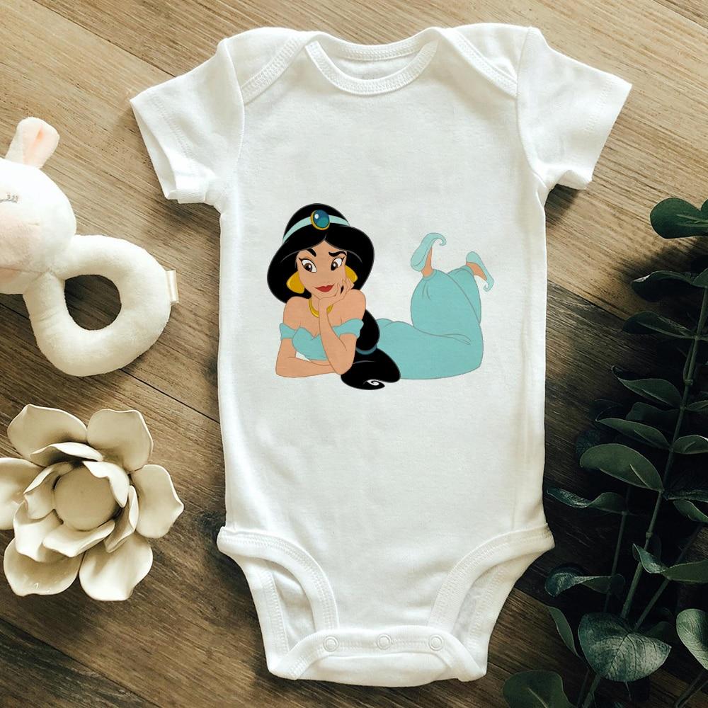 Hip Hop Oversize Baby Unisex Romper Streetwear Harajuku Jasmine Princess Short Sleeve Cotton HipHop Newborn Bodysuit Dropship