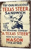 metal tin sign decor iron painting texas steer bar vintage farm vintage art deco