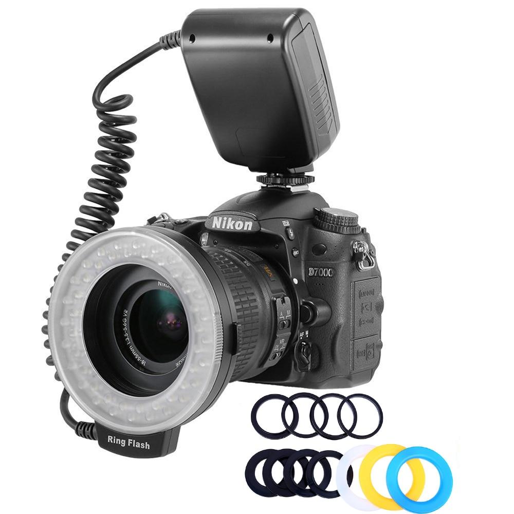 HD-130 ماكرو حلقة أضواء LED ماكرو الدائري ضوء فلاش خاتم لكانون نيكون كانون بنتاكس أوليمبوس باناسونيك كاميرا