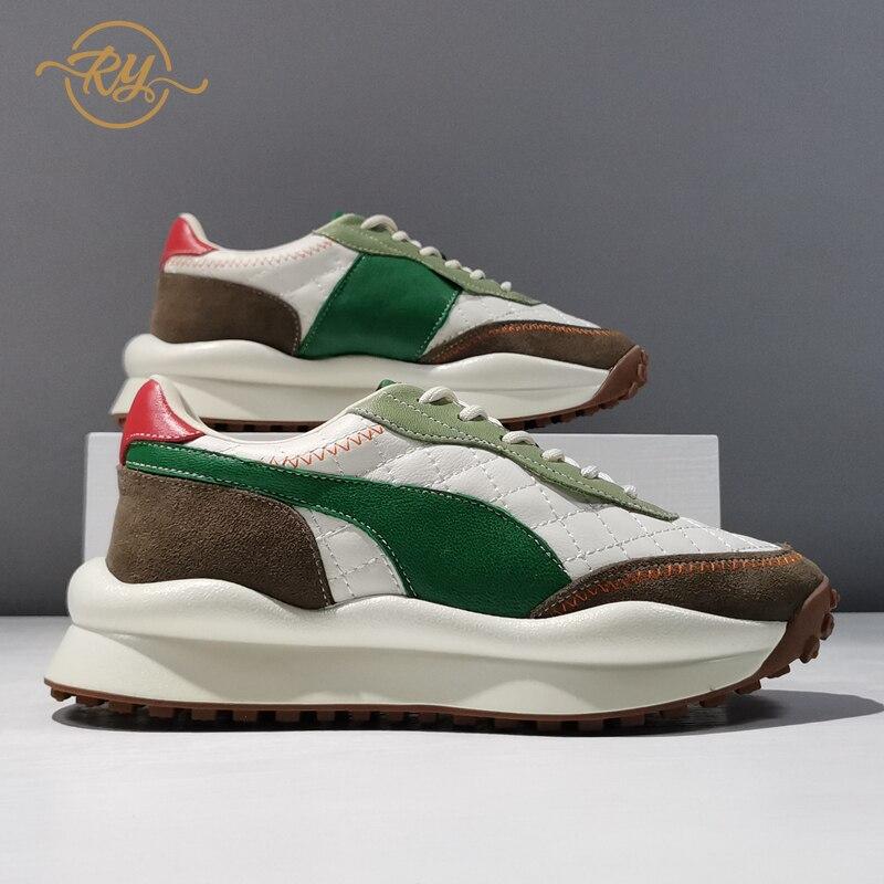RY-RELAA الأوروبية أحذية نسائية أحذية منصة 2021 موضة جديدة الخريف المرأة أحذية رياضية ins جلد طبيعي مكتنزة أحذية رياضية المد