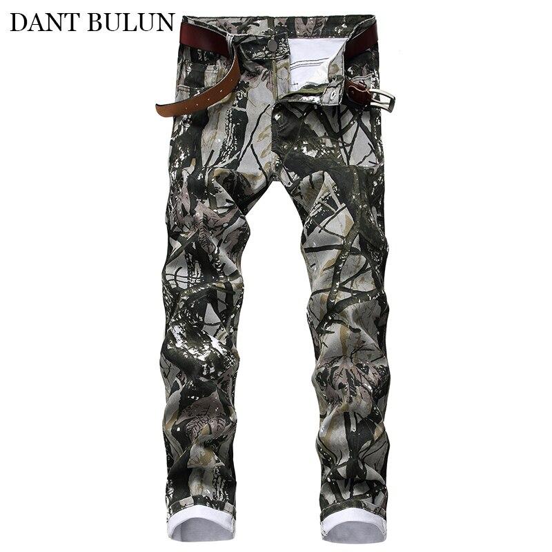 Новинка 2020, мужские камуфляжные джинсы с принтом, уличная одежда, облегающие штаны-карандаш стрейч из денима, повседневные мужские джинсы, м...