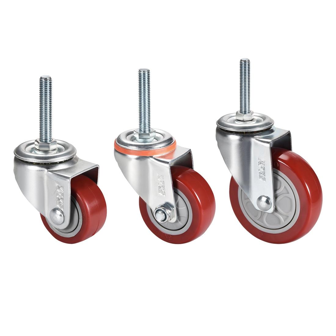 Rodízios rosqueados m12 x 60mm do plutônio da mobília da roda do rodízio do giro da roda do diâmetro de 5 polegadas de uxcell 1-4 pces 2.5 polegadas 3 polegadas