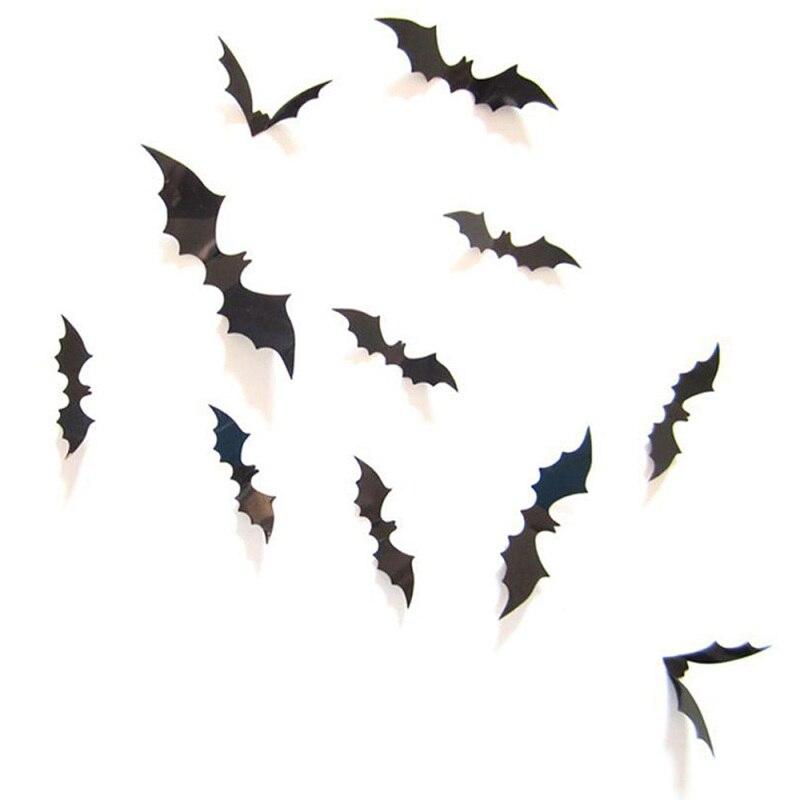 12 pçs assustador morcego 3d pvc assustador terror adesivos de parede para diy festa de halloween casa janela parede fundo decoração
