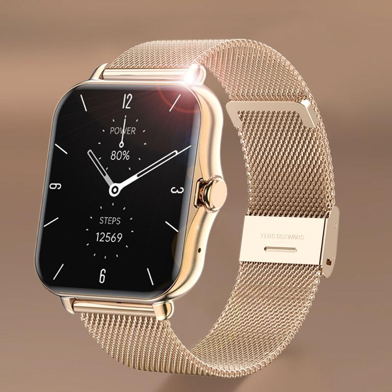 GEJIAN بلوتوث دعوة ساعة ذكية الرجال النساء Smartwatch ECG جهاز تعقب للياقة البدنية مقاوم للماء 1.69 بوصة تعمل باللمس ل iOS أندرويد + صندوق