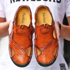 Summer Men Casual Non-slip Sandals Men Flat Sandals Leather Flip Flops Classic Roman Outdoor Beach Slipper Shoes Plus Size 38-48
