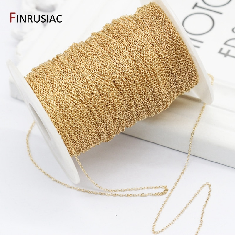 14K Real Gold Plated 1.3mm Thin Chain For DIY Jewelry Making, Wholesale Brass Chains Accessories Fin