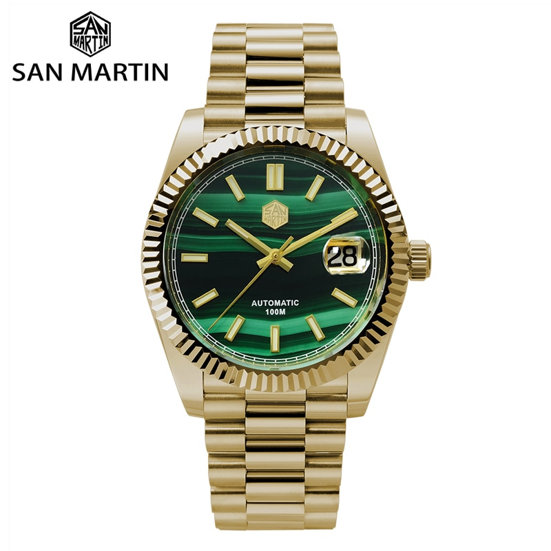 San Martin Retro DATE JUST Business Luxury Sapphire Men Automatic Mechanical Watches Carving Bezel 1