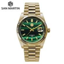 San Martin Retro DATE JUST Business Luxury Sapphire Men Automatic Mechanical Watches Carving Bezel 1