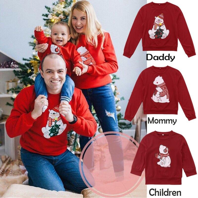 Cartoon Kerst Familie Bijpassende Vrouwen Mannen Kids Sweatshirt Trui Families Schattige Beer Xmas T-shirt Warm Trainingspak Kleding