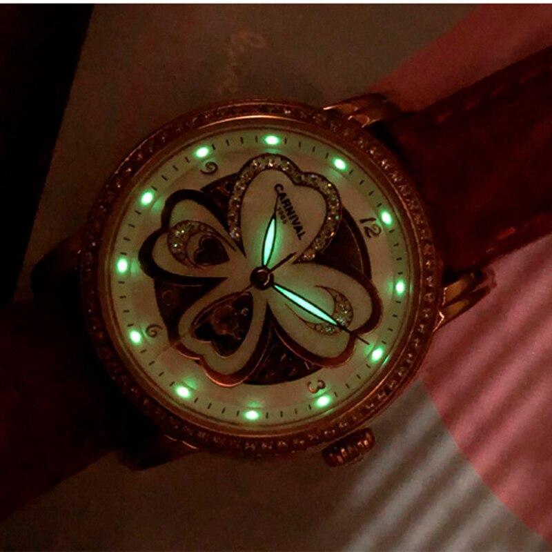 CARNIVAL Brand Fashion Automatic Watch Women Waterproof Luminous Mechanical Wristwatch Casual Silver Rose Gold Relogio Feminino enlarge