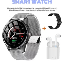 2021 Smart Watches with Wireless Earbuds Fitness Bracelet Bluetooth Calls Heart Rate Monitoring SmartWatches Android OLED Screen