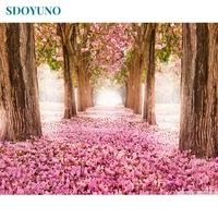 sdoyuno 60x75cm painting by numbers for adults cherry blossom road frameless digital paint by numbers on canvas diy home decor