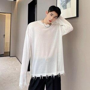 2021 Spring Summer Long Sleeve T-shirt Korean Style O-neck Long Sleeve Thinlight Knitted Tee Damaged Hem Tops See Through