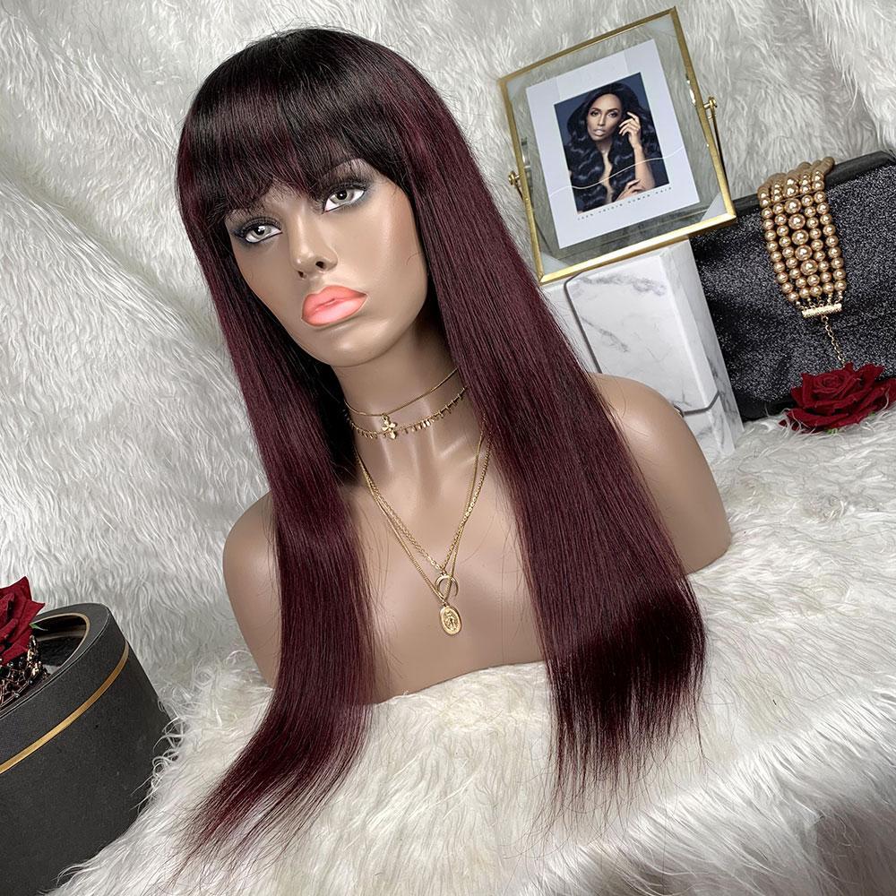 Burgundy Human Hair Bob Straight Wig With Bangs Machine Made Colorful Brazilian Remy Hair Glueless Burgundy Bob Straight Wig