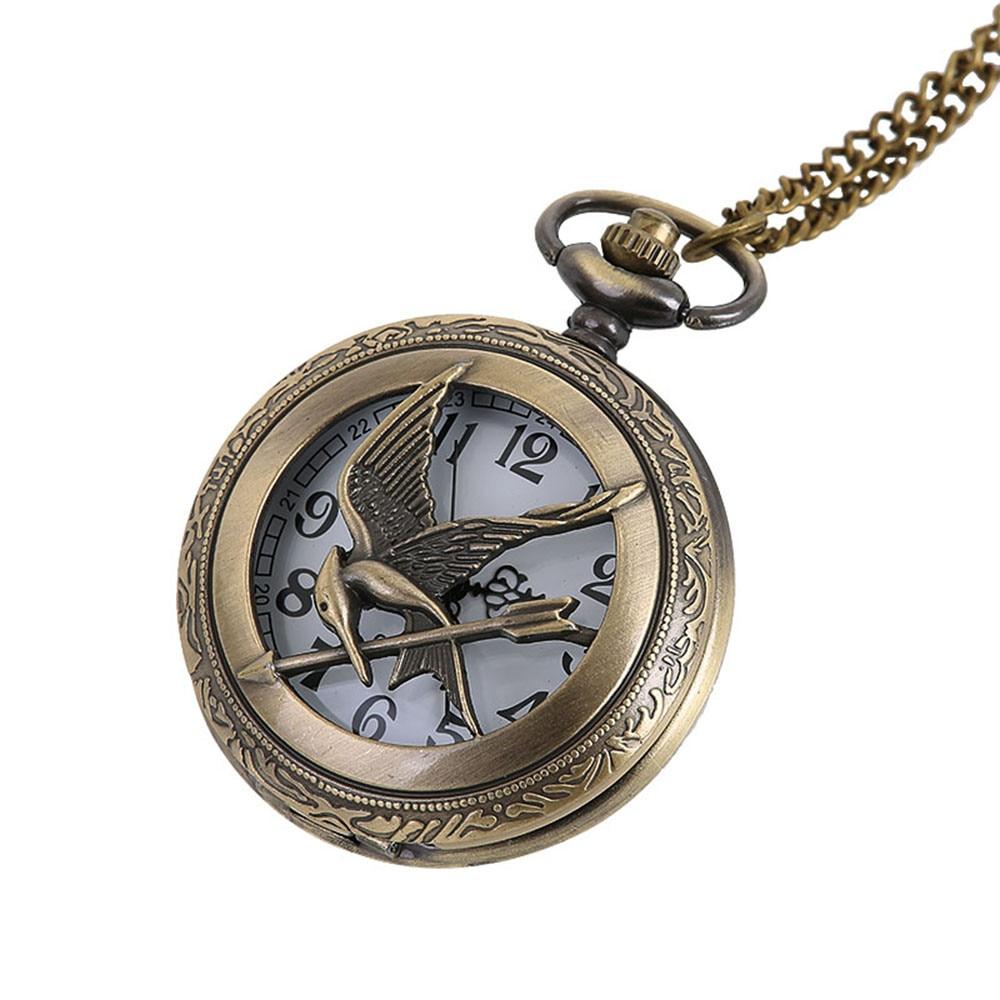 Reloj de bolsillo negro Vintage pájaro volador y flecha animal imagen hueco moda hombres mujeres collar cadena Vintage reloj de bolsillo #10