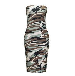 Sexy wrapped chest tie-dye digital printing camouflage nightclub hip dress