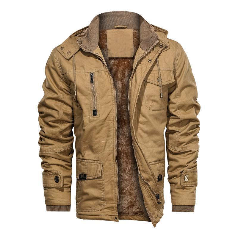 Мужская зимняя куртка с высоким воротником и капюшоном, бархатная модная винтажная Толстая теплая куртка большого размера, Повседневная Ул...
