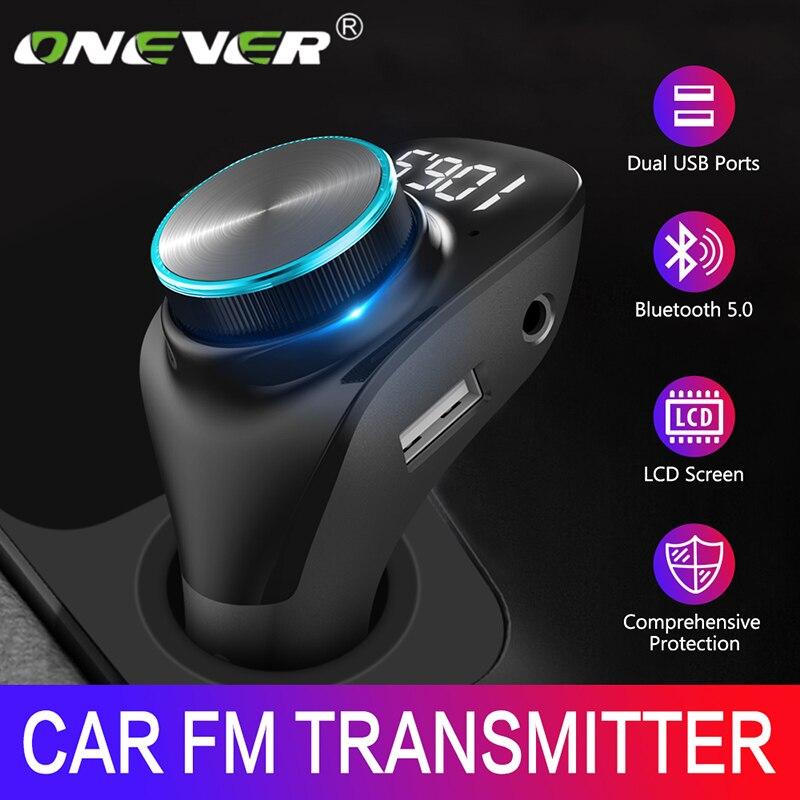 Onever fm-передатчик модулятор беспроводной Bluetooth 5,0 AUX Автомобильный Mp3 плеер двойное USB зарядное устройство Handsfree ЖК-экран Автомобильный адаптер
