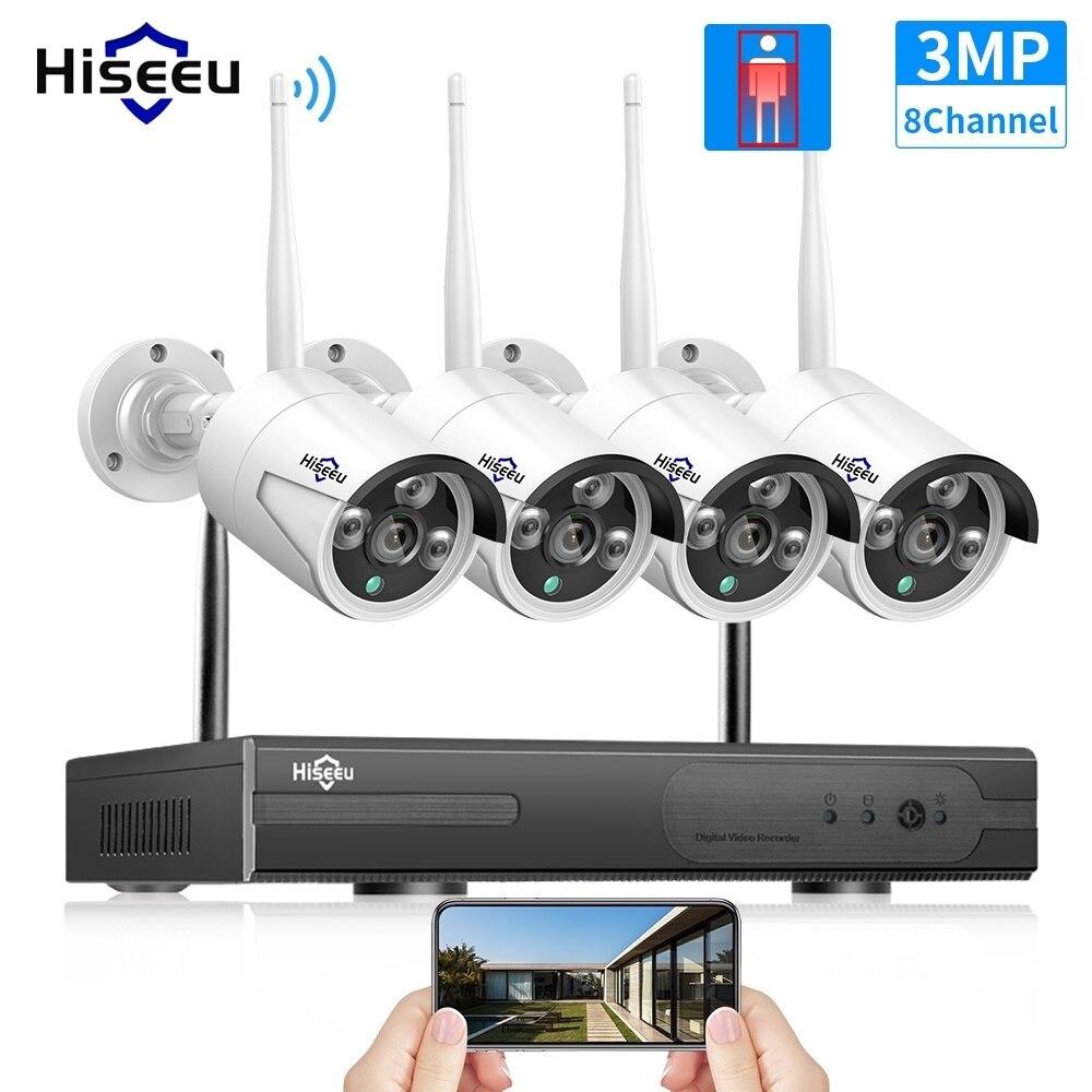 Hiseeu-نظام أمان لاسلكي بدقة 3 ميجابكسل ، مجموعة مراقبة بالفيديو خارجية ، كاميرا IP مقاومة للماء ، WIFI