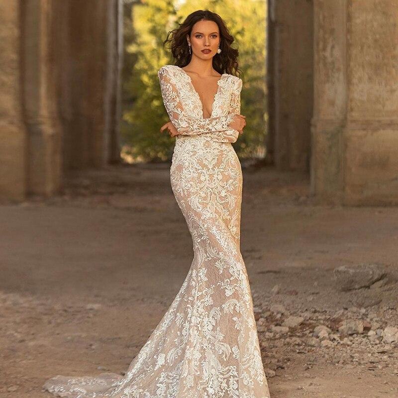 Get Elegant Mermaid Wedding Dresses Lace Appliques Beach Bridal V-neck Full Sleeve Bride Ruched Gowns Vestido De Novia Custom Made
