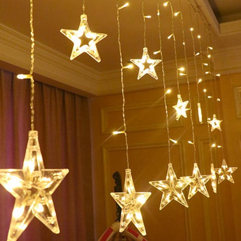 Moderno colgante de decoración para el hogar cortina de luz guirnalda de luz LED 220V carámbano gota estrellada LED Foyer boda techo vacaciones lámpara de noche