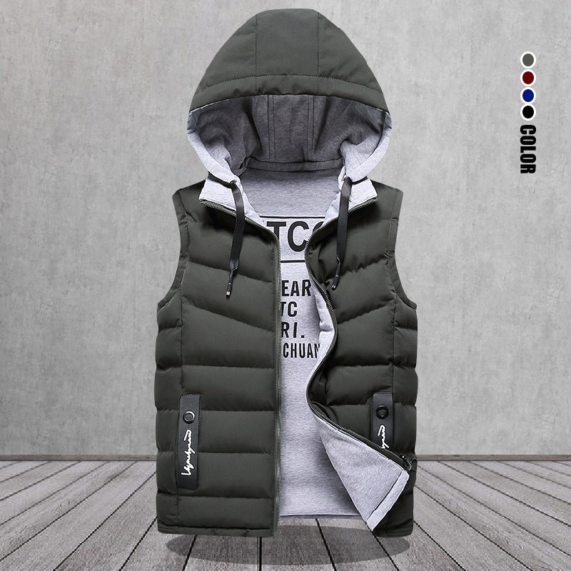 العلامة التجارية الرجال سترة الشتاء أكمام جاكيتات أسفل سترة الرجال مقنعين الدافئة جديد 2021 أبلى عادية قبعة انفصال الخارجي سترة Chalecos