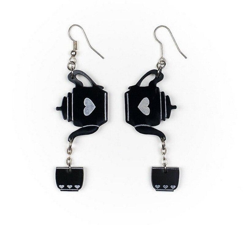 Pendientes de borla acrílica para mujeres Pendientes negro transparente tetera Japón pendiente de gota en forma de corazón Oorbellen Brincos de moda