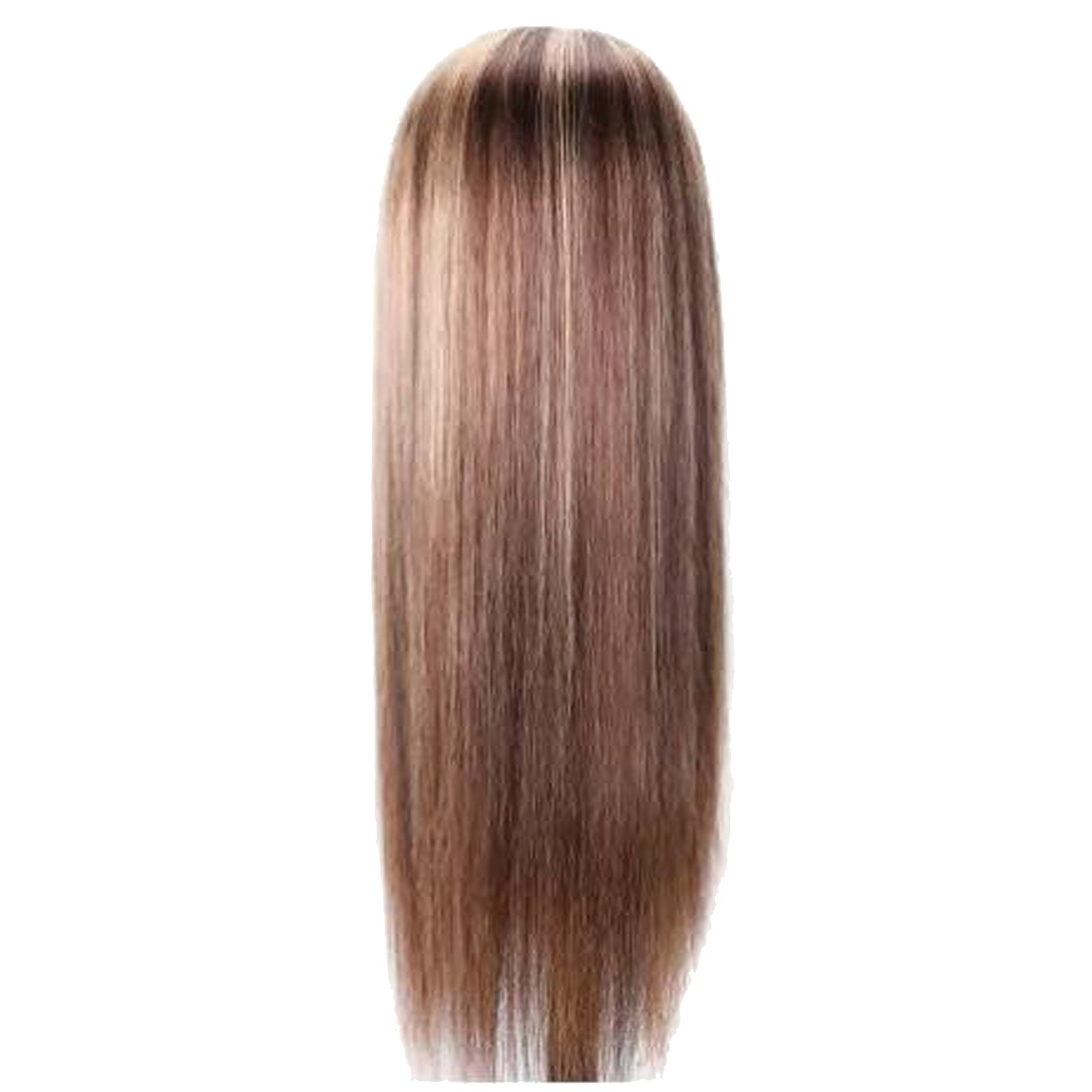 12-24 Inches stylish Long Straight Brown Mixed Blonde Synthetic party Wigs for Women Middle Part Hig
